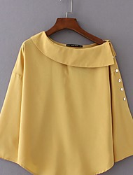 Women's Going out / Casual/Daily Simple / Cute Fall / Winter Shirt,Solid Boat Neck Long Sleeve Yellow Cotton Medium