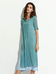 Women's Casual/Daily Street chic Loose Dress,Solid Round Neck Midi Short Sleeve Blue / Pink Acrylic Spring Mid Rise Micro-elastic