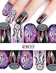 1Sheet Windmill Nail Art Water Transfer Sticker Full Cover Colorful Wrap Manicure Decals Tip Nail Aet Decoration Tools BN311