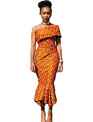 Women's Single Shoulder Mermaid Hem Africa Print Dress
