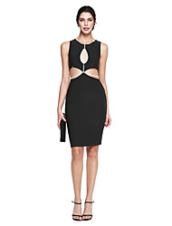 TS Couture® Cocktail Party Dress Sheath / Column Jewel Knee-length Jersey with Pearl Detailing
