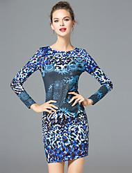 Mujer Recto Vestido Casual/Diario Simple,Leopardo Escote Barco Sobre la rodilla Manga Larga Azul Poliéster Otoño Tiro Medio Microelástico