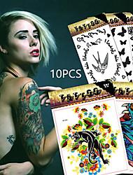 10 Tatuagens Adesivas Séries Animal / Série Florida / Séries Totem / Outros / Série dos desenhos animados / Série românticanão tóxica /
