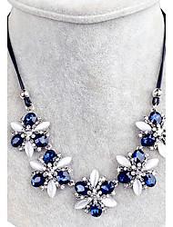Femme Col Cristal Strass Forme de Fleur Strass A Fleurs Bleu royal Bijoux Pour Mariage Soirée Quotidien 1pc
