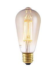 6W E26/E27 Ampoules à Filament LED ST64 4 COB 550 lm Ambre Décorative / Gradable AC 100-240 V 1 pièce