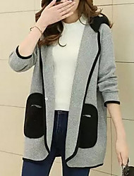 Women's Going out Sexy Long Cardigan,Solid Hooded Long Sleeve Wool Fall Medium Micro-elastic