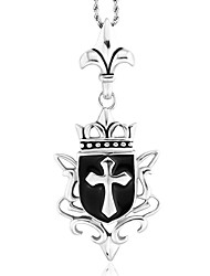 style punk collier de charme pendentif 316l rétro sculpture croix forme bijoux en acier inoxydable pour hommes