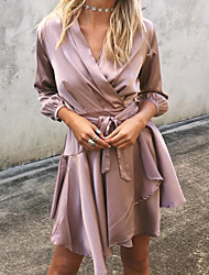 Women's Asymmetrical Going out / Beach Simple Loose Dress,Solid V Neck Above Knee Long Sleeve Purple Polyester Summer / Fall High Rise Micro-elastic