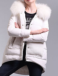 Women's Regular Down Coat,Simple Going out Solid-Polyester White Duck Down Long Sleeve Shirt Collar White
