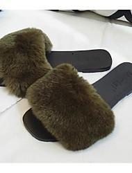 Women's Slippers & Flip-Flops Winter Other PU Fur Casual Flat Heel Black Green Gray