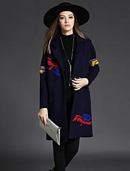 Women's Casual/Daily Cute Coat,Jacquard / Letter Shirt Collar Long Sleeve Winter Blue / Gray / Green Others Medium