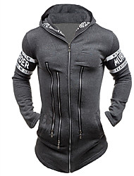 Men's Casual/Daily Active Simple Hoodie Jacket Letter Micro-elastic Cotton Long Sleeve Fall Winter