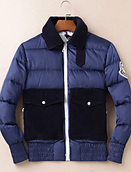 Men's Down Coat,Simple Casual/Daily Solid-Cotton White Duck Down Long Sleeve Blue