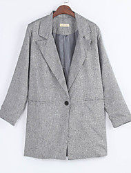 Women's Vintage / Cute Fall Blazer,Solid Square Neck Long Sleeve Gray Cotton Medium