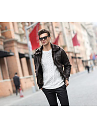Men's Holiday Vintage Jackets,Solid Long Sleeve Brown PU