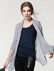 Damen Standard Strickjacke-Ausgehen Niedlich Solide Rosa Braun Grau Rundhalsausschnitt ¾-Arm Polyester Frühling Sommer Dünn