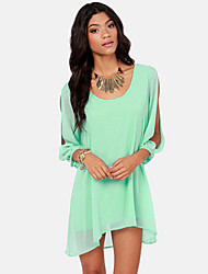 Women's Holiday Simple / Street chic Loose / Chiffon Dress,Solid V Neck Midi Long Sleeve Blue / Pink / Red / Black / Green Polyester