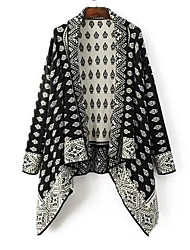 Damen Standard Mantel / Capes-Lässig/Alltäglich Einfach Druck Schwarz Hemdkragen Langarm Baumwolle Herbst / Winter Mittel Mikro-elastisch