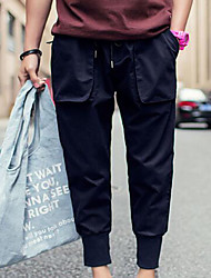Masculino Solto Chinos Calças-Cor Única Casual Simples Cintura Média Com Cordão Algodão / Poliéster Micro-Elástico Verão