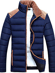 Men's Long Padded Coat,Simple Casual/Daily Solid-Polyester Polyester Long Sleeve Blue / Red / Beige / Black