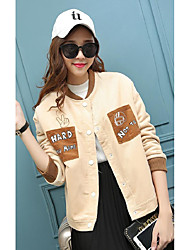 Women's Casual/Daily Simple Jackets,Solid Long Sleeve Fall / Winter Brown Cotton Medium