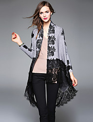 XSSL Women's Going out / Casual/Daily / Holiday Street chic / Punk & Gothic / Sophisticated Cloak/CapesJacquard Shirt Collar Long SleeveFall