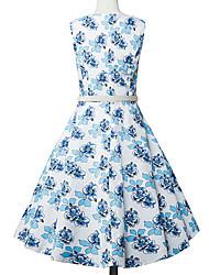 Swing Robe Femme Sortie Sophistiqué,Points Polka Col Arrondi Mi-long Sans Manches Multi-couleur Coton Toutes les Saisons Taille Normale