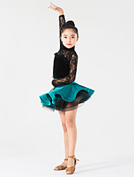 Latin Dance Outfits Children's Performance Lace / Velvet Lace 2 Pieces Long Sleeve Natural Top / Skirt
