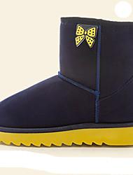 Women's Boots Fall Winter Comfort Fur Outdoor Casual Flat Heel Bowknot Black Blue Brown Pink Walking