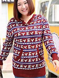 Damen Standard Pullover-Lässig/Alltäglich Übergröße Einfach Tierfell-Druck Rot Mit Kapuze Langarm Baumwolle Herbst Winter Mittel