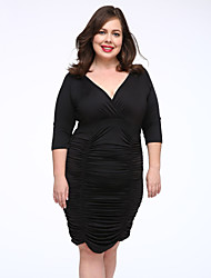 Women's Party/Cocktail / Plus Size Sexy Bodycon Dress,Solid Deep V Knee-length ½ Length Sleeve Blue / Red / Black / Gray Modal Fall