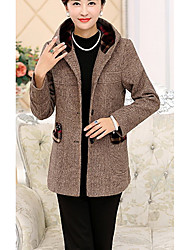 Women's Casual/Daily Simple Coat,Solid Hooded Long Sleeve Fall Red / Brown / Gray Polyester Thick