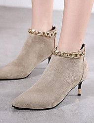 Women's Boots Winter Others Suede Casual Stiletto Heel Chain Black Gray