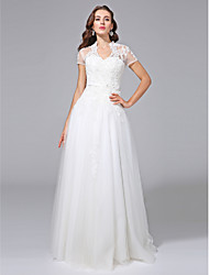 A-line V-neck Floor Length Tulle Wedding Dress with Beading Appliques Sash / Ribbon by LAN TING BRIDE®