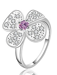 Jewelry Women Alloy Silver Hollow Flower Ring Sterling Silver