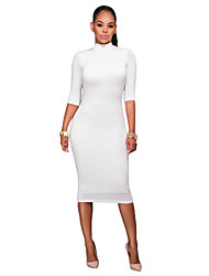 Women's Bodycon Mock Neck O-ring Accent Cut out Half Sleeve Midi Dress