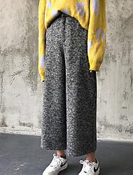 2016 new Korean Women elastic high waist thick woolen flower wide leg pants fall and winter black pantyhose Sign