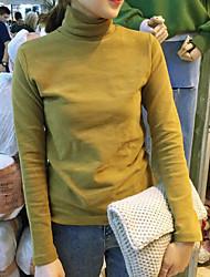 Damen Solide Einfach Lässig/Alltäglich T-shirt,Rollkragen Winter Langarm Schwarz / Braun / Grün Baumwolle Mittel