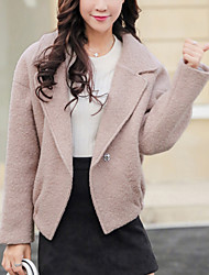 Women's Casual/Daily Simple JacketsSolid Shirt Collar Long Sleeve Fall / Winter Pink Wool Thick