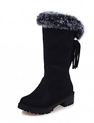Women's Boots Spring Fall Winter Platform Comfort Novelty Leatherette Outdoor Casual Low Heel Platform Tassel Black Brown Red Other