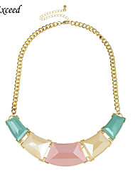 Women's Trendy Multi-Color Resin Stone Alloy Gold Chain Statement Pedant Necklace NL161902-1