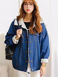 signer nouvelle femelle étudiants coréens vent sauvage beau bf cachemire veste en jean, plus velours épais