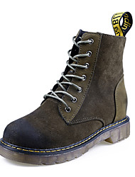 Women's Fashion Leather Boots Comfort Combat Boots Casual High Top Shoes Retro Suede Boots Low Heel Lace-up More Color