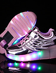 Kid Boy Girl's Roller Skate Shoes / Ultra-light Single Wheel Skating LED Light Shoes / Athletic / Casual LED Shoes with Wings / Black Pink Silver