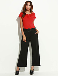 Women's Patchwork Red / Black Jumpsuits,Casual / Day Asymmetrical Short Sleeve