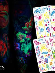 6 Tatouages Autocollants Séries animales / Séries de fleur / Séries de totem / Autres / Cartoon Series / Série romantiqueNon Toxic /