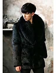 Men's Going out / Casual/Daily Simple / Street chic Fur Coat,Solid Shirt Collar Long Sleeve Winter Black Faux Fur Thick