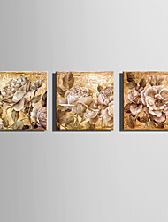E-HOME Stretched Canvas Art Elegant Flowers Decoration Painting  Set of 3