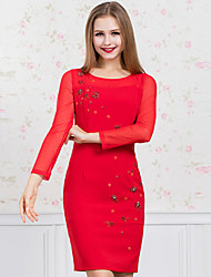 GATHER BEAUTY   Women's Casual/Daily Simple Sheath DressSolid Round Neck Above Knee Long Sleeve Red Polyester Fall Mid Rise Inelastic Medium