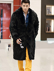 Men's Special Occasion / Plus Size / Casual/Daily Street chic / Punk & Gothic / Tops Fur CoatSolid Shirt Collar Long Sleeve Winter BlackFuax